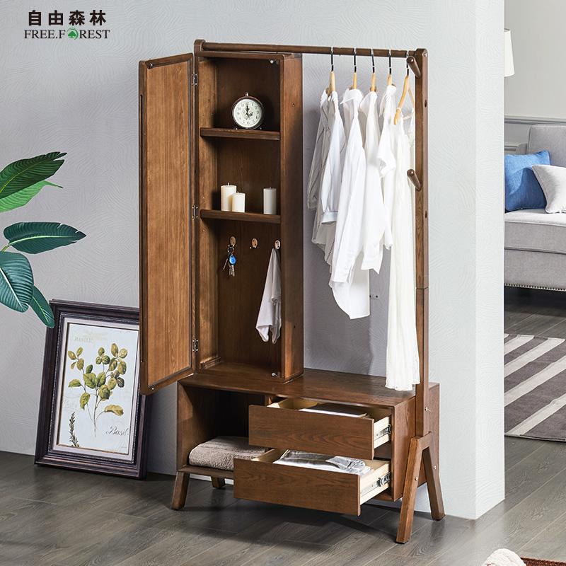 实木衣帽架落地卧室客厅挂衣架简约现代衣架子多功能带镜子收纳