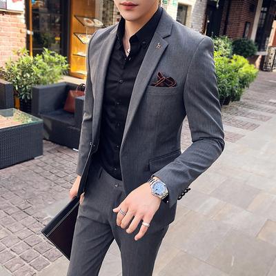 商务休闲条纹小西装男套装韩版修身帅气一套职业正装西服两件套潮