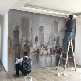 复古抽象油画墙纸纽约城市风景壁纸卧室餐厅背景墙无缝定制壁画