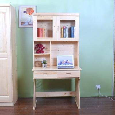 实木0.9米电脑书桌组合松木写字台书柜书橱家用儿童单人学习桌