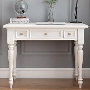 欧式写字台全实木书桌白色家用办公桌卧室小桌子美式电脑桌复古