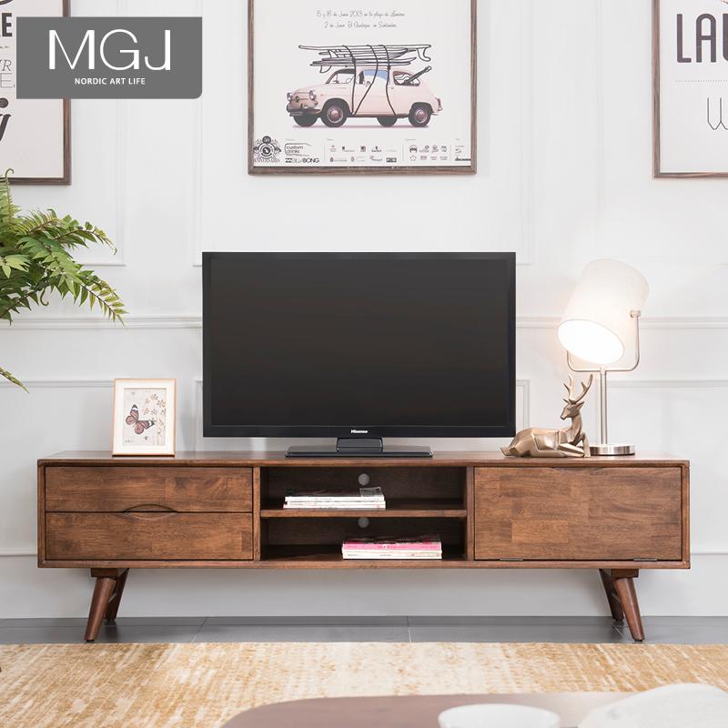 北欧实木电视柜现代简约小户型迷你1.8米客厅茶几电视柜组合套装