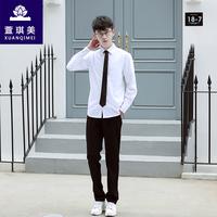 萱琪美韩版学院风校服套装男班服夏季短袖白衬衫工作服秋长袖套装