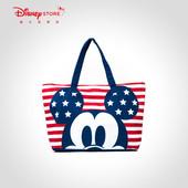 迪士尼时尚 米奇星星条纹便携可收纳单肩包手提包托特包disney