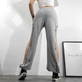 WEEKEEP original design high waist close foot side slit casual trousers female street beat dancing hiphop trousers