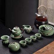 澜扬家用整套陶瓷功夫茶具 茶杯盖碗茶壶 青瓷哥窑开片茶具套装