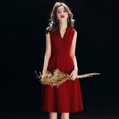 晚礼服女2019时尚 红色聚会派对小礼服连衣裙名媛 宴会高贵优雅短款
