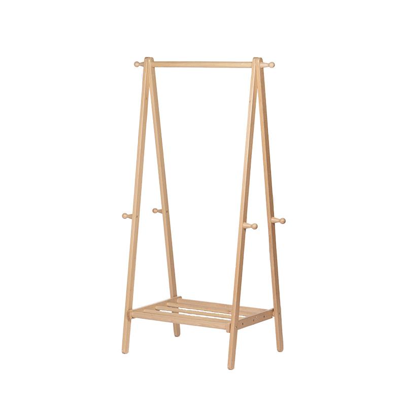 北欧实木落地挂衣架房间木质简易收纳置物家用衣服架子卧室衣帽架