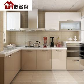 成都整体橱柜定制烤漆厨柜欧式简约石英石台面一字开放式厨房设计