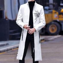 男士风衣2018新款发型师外套男潮长款过膝韩版立领春秋季皮衣大衣
