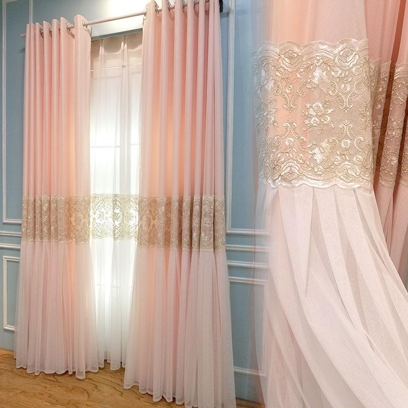 公主窗帘粉加纱