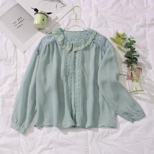 外贸原单 清新绿圆领拼蕾丝排扣宽松女雪纺衫