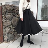 2019春季韩版黑色ins森系半裙女中长款学生花瓣裙法式复古半身裙