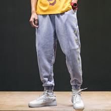 夏季九分裤男宽松袋刺绣休闲卫裤潮男嘻哈伦裤运动小脚束脚裤大码
