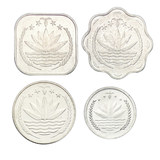 Bangladesh's four coin coin sets year random coins with special shapes are completely new and Uncirculated