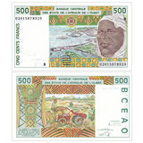 New UNC West Africa Benin 500 Francs Foreign Currency 2002 P-210 Bn