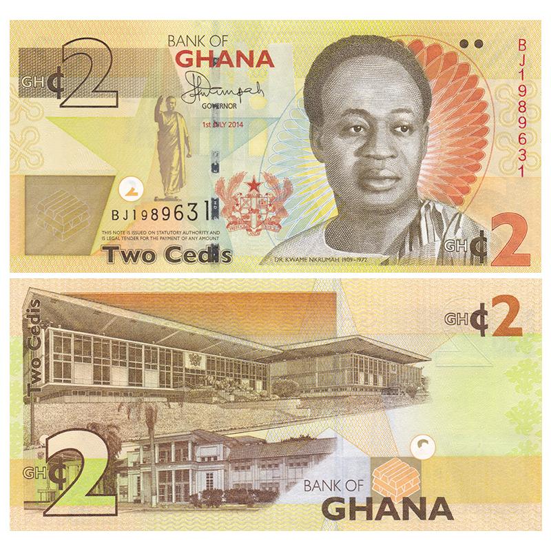 【非洲】全新UNC 加纳2塞地 纸币 外国钱币 2017年 P-37A