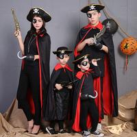 万圣节海盗套装成人杰克加勒比船长服装儿童黑色斗篷衣服披风cos