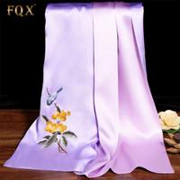 FQX 围巾女夏季桑蚕丝手工苏绣花丝巾丝绸中国风紫色双层旗袍披肩