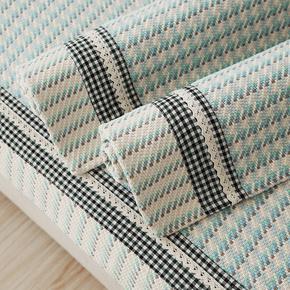 地中海沙发垫四季通用沙发巾沙发套棉麻布艺蓝色棉织沙发垫扶手巾