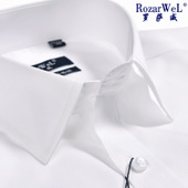 衬衣夏 正装 男短袖 上班半袖 纯白色高支纯棉免烫商务工装 罗萨威衬衫
