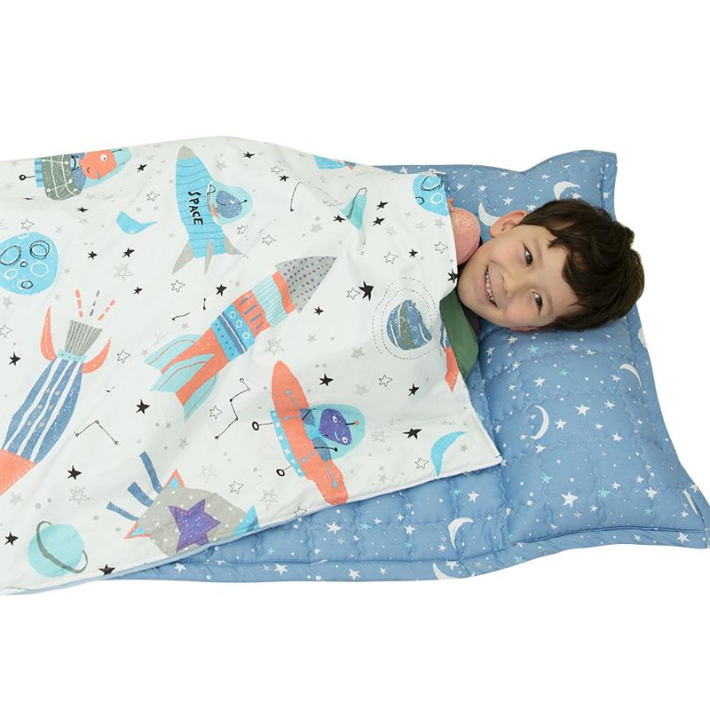 花月太空之旅便携一体防踢午睡被幼儿园儿童宝宝纯棉四季被子睡袋