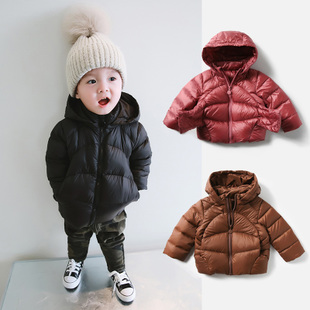 komi童装婴儿羽绒服2018男童白鸭绒外套小儿童加厚冬装宝宝轻羽绒