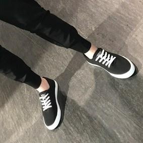 夏季新款板鞋子透气百搭休闲系带平底运动韩版低帮帆布鞋潮鞋怨史