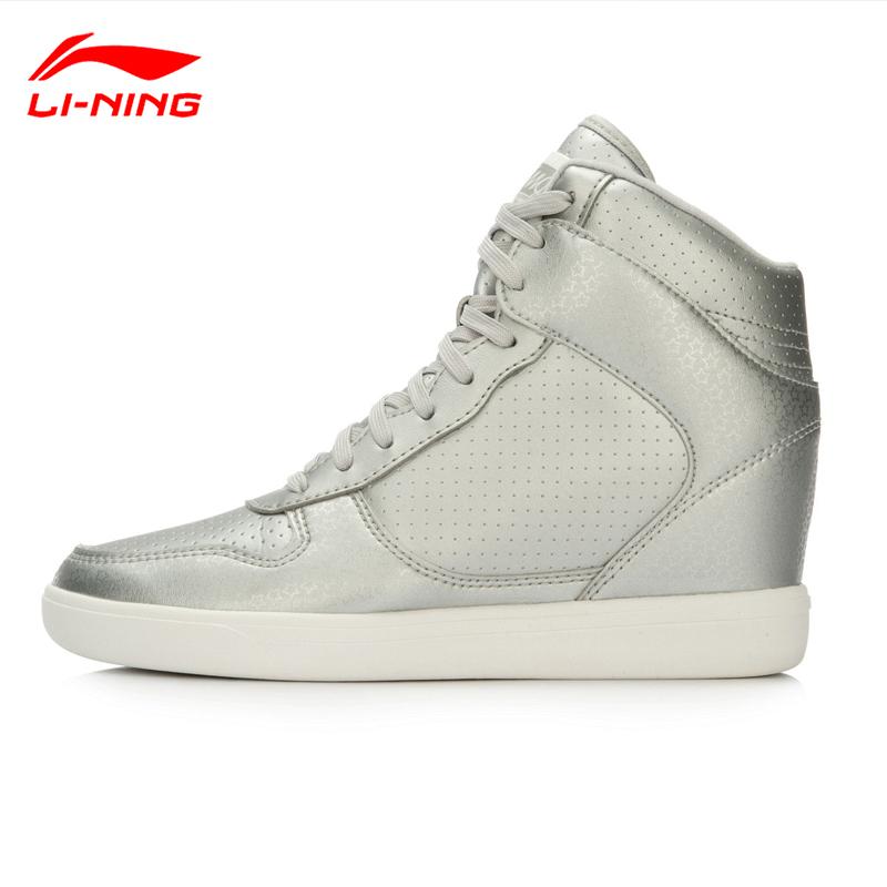 李宁休闲鞋女鞋秋冬季高帮防滑耐磨板鞋女士内增高学生跑步运动鞋