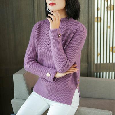 中年女毛衣秋季短款毛针织衫侧开叉宽松套头上衣秋冬半高领打底衫