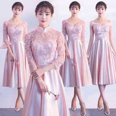 出租伴娘服中长款2018秋季新款韩版伴娘团姐妹裙毕业合唱显瘦礼服