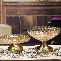 欧式奢华家用水晶玻璃果盘客厅茶几水果盘糖果盘简约现代创意摆件
