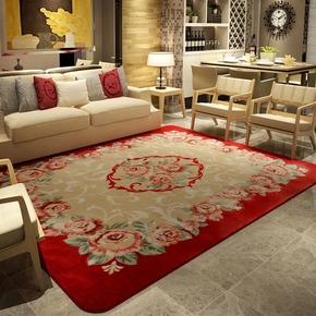 新款中式玫瑰豪华欧式客厅卧室地毯茶几婚庆床边加厚防滑剪花立体