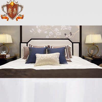 新中式双人床实木后现代简约新古典禅意卧室1.8米样板房酒店家具2哪里购买