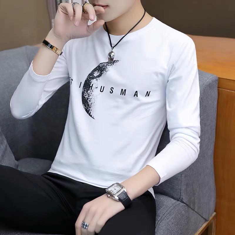 2019冬季新款长袖t恤男士纯棉打底衫白色体恤韩版小衫男装上衣服