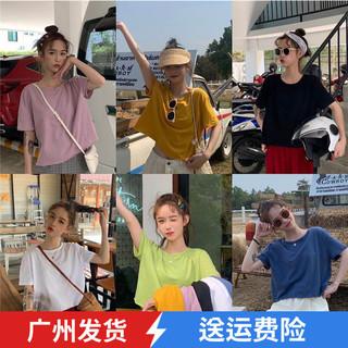 夏季韩版宽松简约不收边短款T恤女装2019新款流行学生短袖上广州