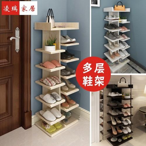 2018新款鞋架实木门厅柜简易多功能简约现代宜家多层玄关鞋柜组装