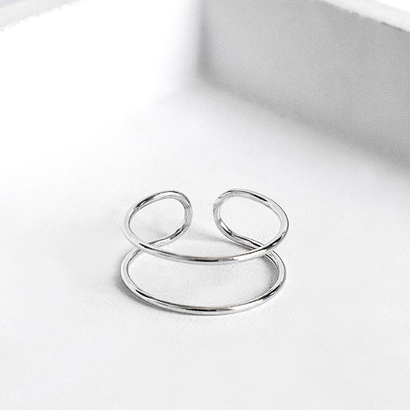 潮人日韩款双线指环925纯银个性女款极简风双线条戒指时尚饰品