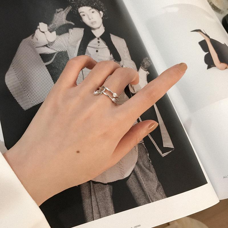 日韩小众设计复古别针戒指女简约百搭潮人双层锆石指环尾戒J170