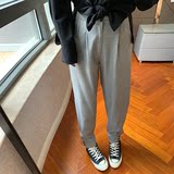 More than two 19FW texture fabric super slim loose radish suit pants old pants high waist casual pants