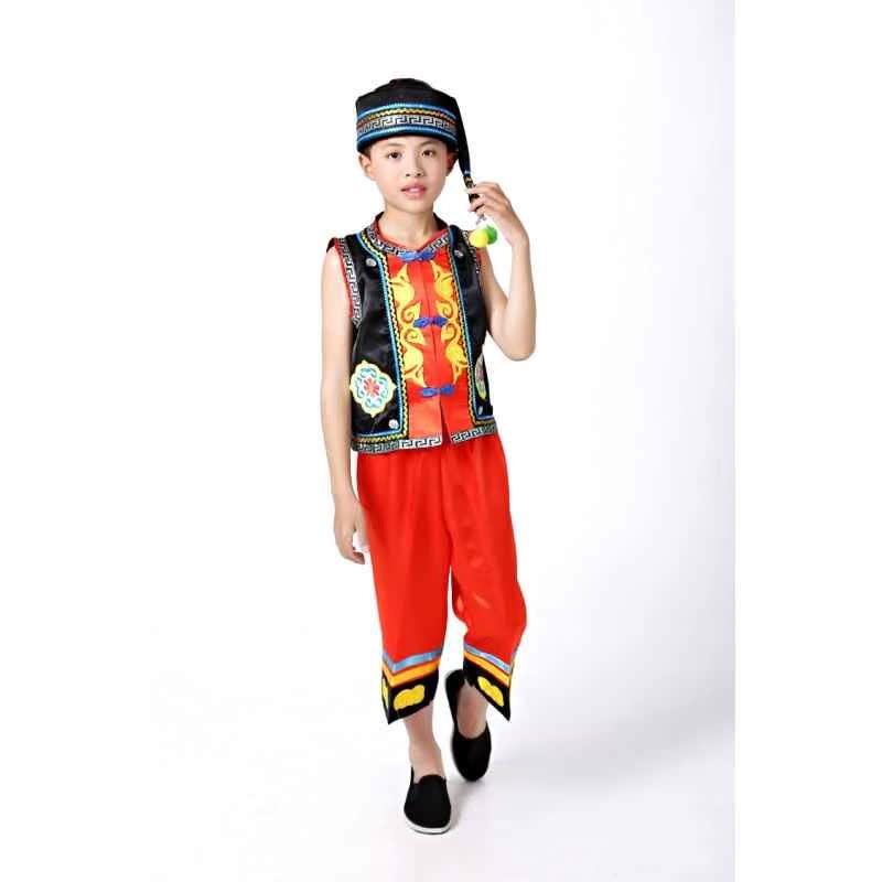 新款男童少数民族表演服汉族拉祜族锡伯族土族演出服装侗族彝族舞