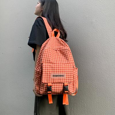 ins书包女韩版高中大学生日系格子森系古着感少女背包帆布双肩包