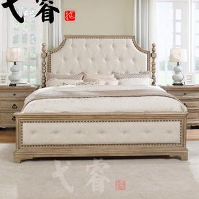 美式实木床欧式复古做旧实木雕花软包双人床现代简约别墅婚床