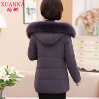 Mama cotton 袄 female winter long section coat jacket 40-50 years old middle-aged women's winter down jacket cotton loose