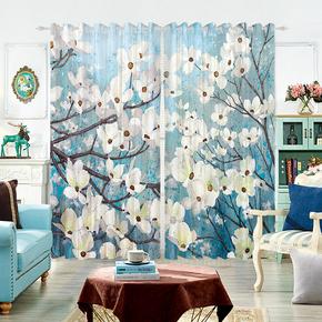 定制3D半全遮光窗帘布纱帘卧室客厅欧美式风格梅花花朵装饰画油画