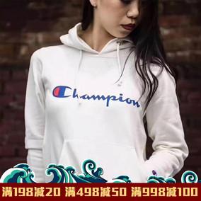 丝叔潮社 正品日版Champion草写大C刺绣连帽卫衣男女情侣潮牌帽衫