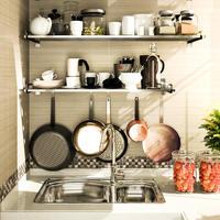 厨房置物架微波炉架壁挂不锈钢储物架子锅架墙上层架收纳架烤箱架