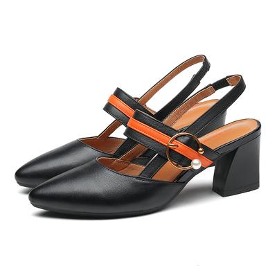 红蜻蜓女鞋2018夏季新款简约真皮尖头后空一字扣粗跟高跟凉鞋女