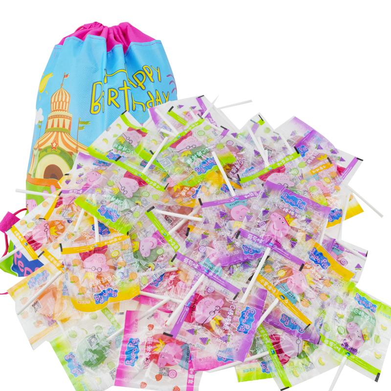 小猪佩奇琪PeppaPig水果味棒棒糖生日礼物礼袋草莓葡萄儿童零食品