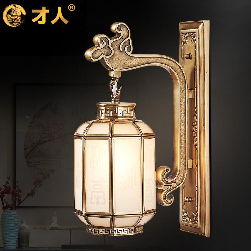 新中式全铜复古床头灯卧室壁灯过道灯创意中国风客厅背景墙铜壁灯